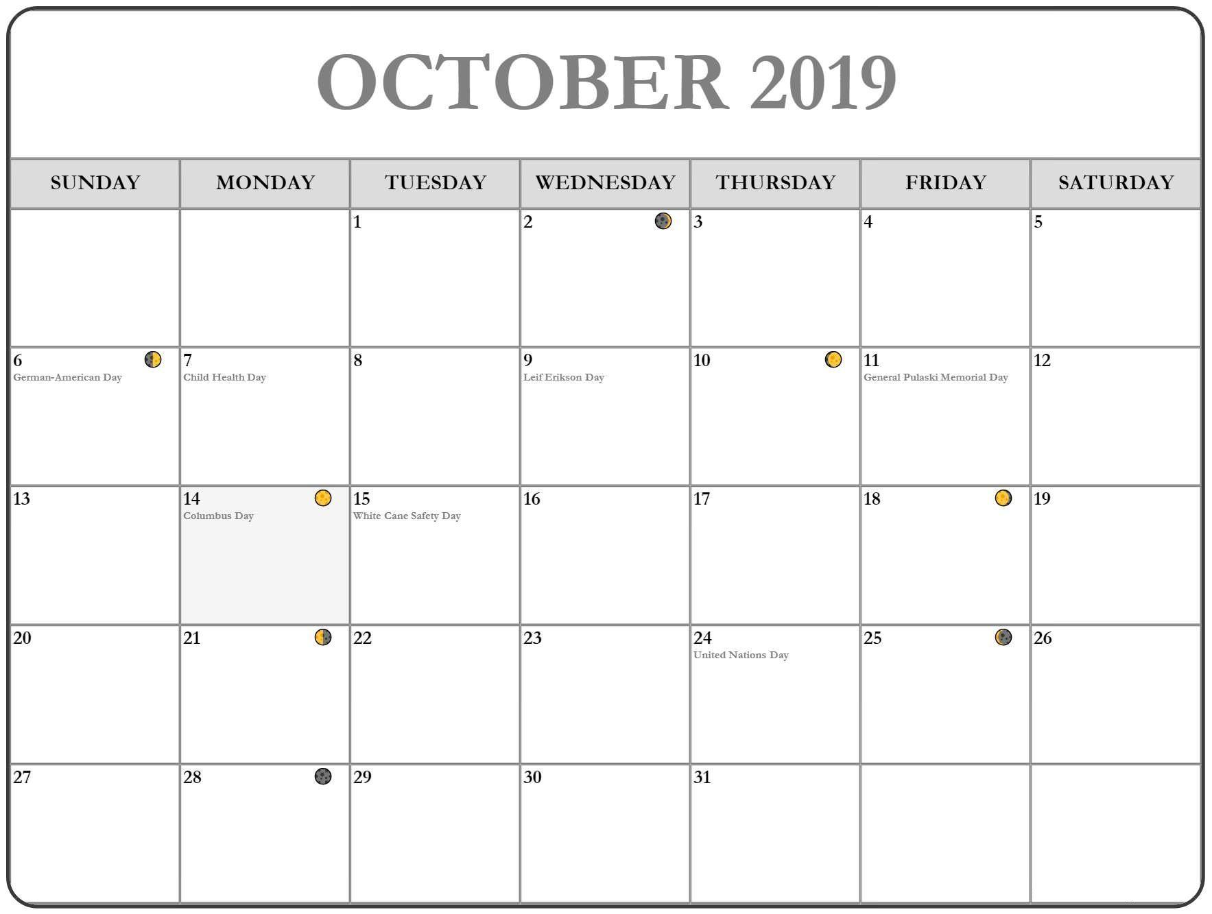 Events October 2019 Calendar With Holiday Calendar Printables