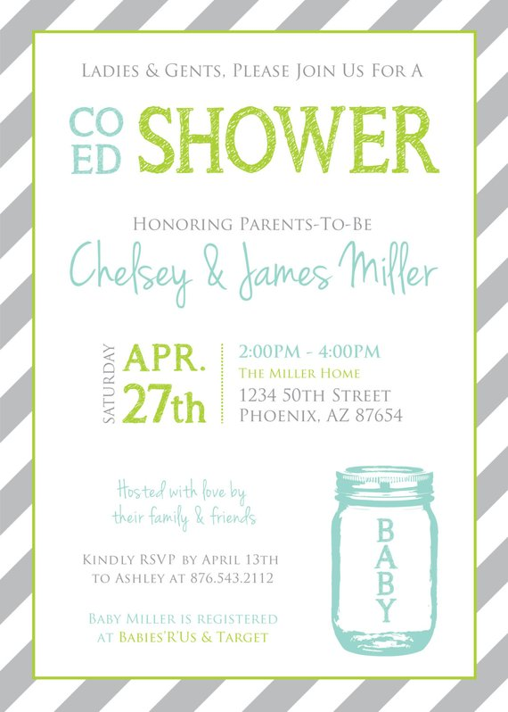 Co-Ed Baby Shower Mason Jar and Stripes Invitation   Aqua Lime Gray ... 00b2efe3ae