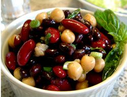 How To Make Three Bean Salad Kidney Black And Garbanzo Bean Salad Garlic Bean Salad Recipe Recipes Bean Salad Recipes Vegetarian Recipes Easy