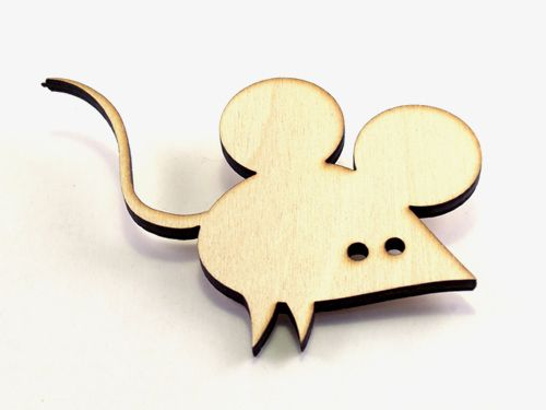 Mouse brooch, wood