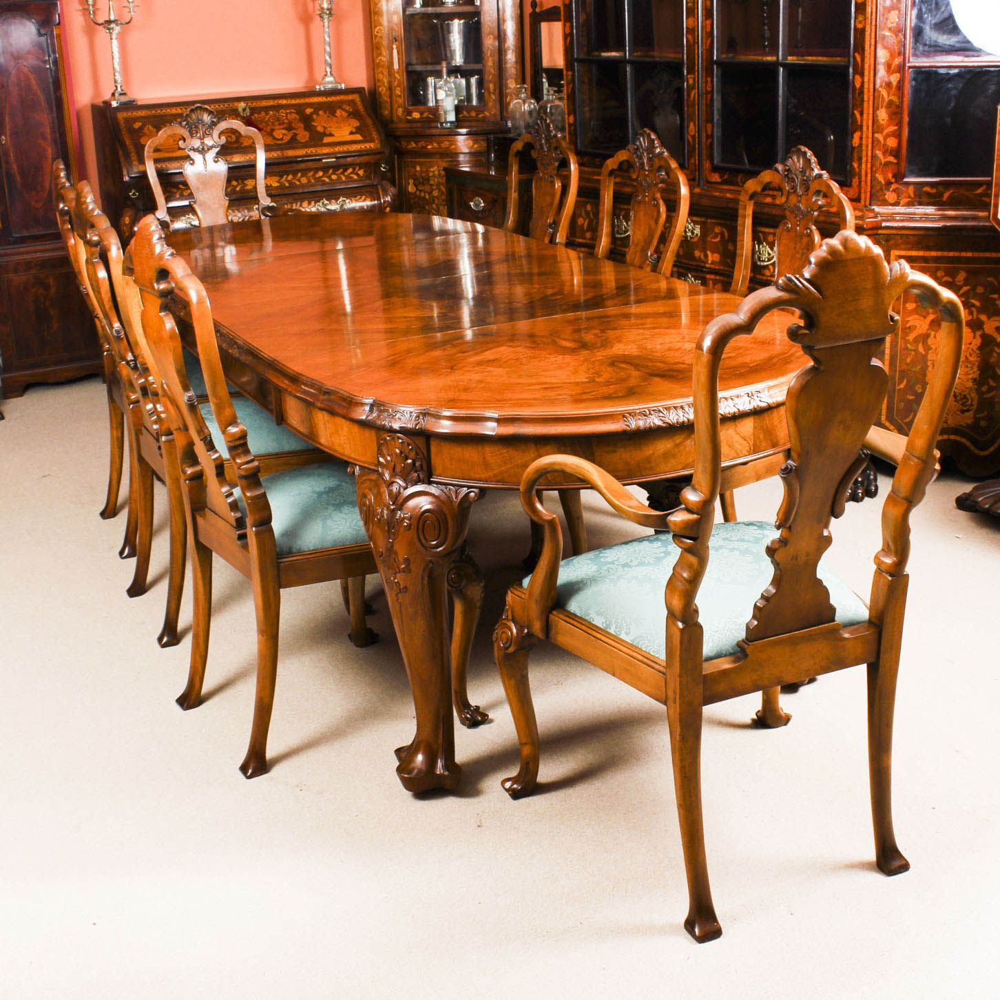 Antique Edwardian Queen Anne Revival Dining Table 8 Chairs C