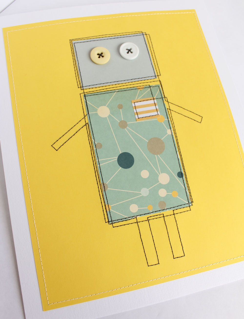 Boys\' room wall art Last one: Robot wall art - yellow and turquoise ...