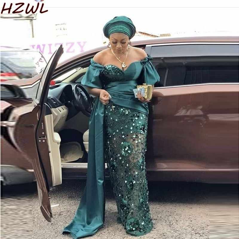 Plus Size Mermaid Evening Dresses Aso Ebi Off Shoulder Cut Out Prom Dress Short Sleeves African Women Gowns robes de cocktail