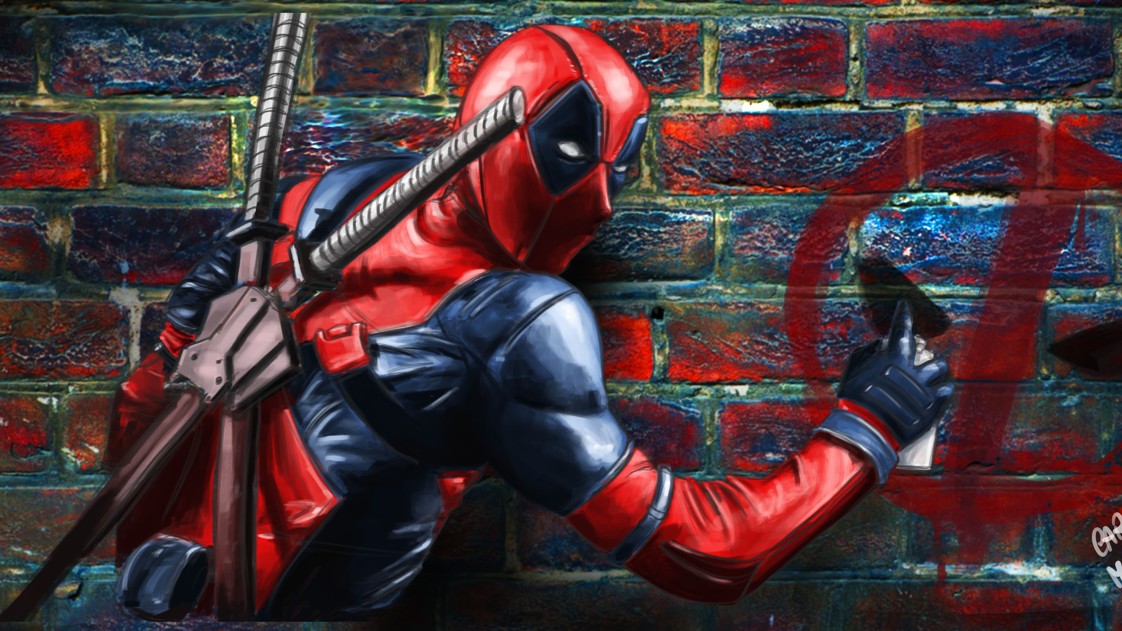Deadpool Painting On The Wall Superheroes Wallpapers Hd Wallpapers Funny Wallpapers Digital Art Wallpa Deadpool Painting Funny Wallpapers Deadpool Wallpaper