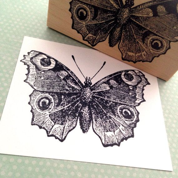 Peacock Butterfly Rubber Stamp by 100 Proof Press by 100ProofPress