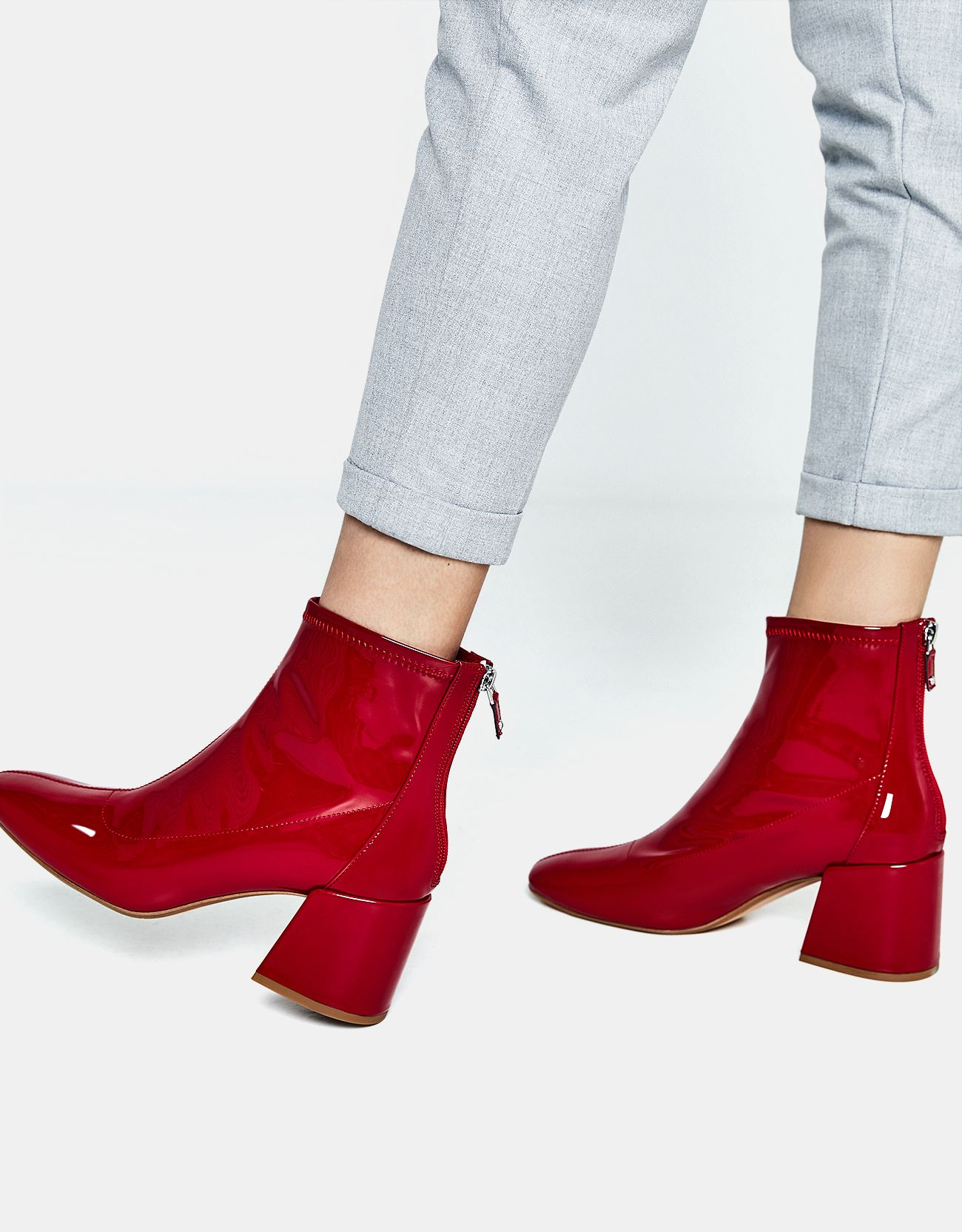 ad15a66035f Mid-heel ankle boots with a patent finish. Discover this and many more  items in Bershka with new products every week