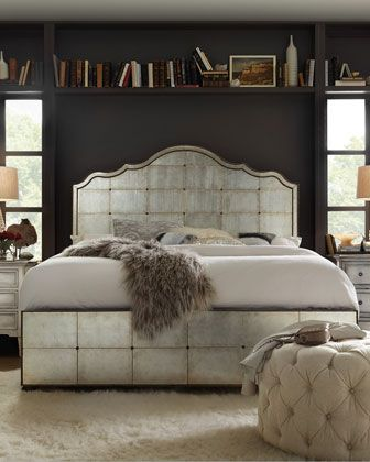 Visage Eglomise Mirrored Panel Bed California King Mirrored