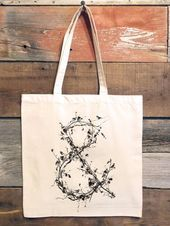 Tote Bag  Ampersand Made from Tree Branches with Birds  Screen Printed Cotton Canvas Tote Bag Tote Bag Ampersand Made from Tree Branches with Birds  Etsy This image has g...