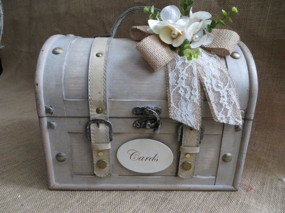 Pick Your Colors Shabby Chic Cream Wedding Trunk Card Holder Box Money Suitcase Rustic On Etsy 61 52 Aud