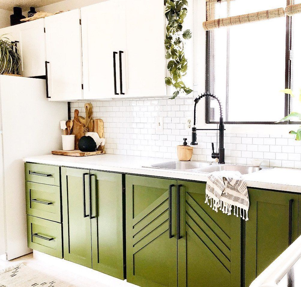 Apartment Therapy On Instagram Hierathc S Green Kitchen Cabinets Never Fail To Make Us Smile We We In 2020 Green Kitchen Kitchen Dining Room Combo Bungalow Kitchen