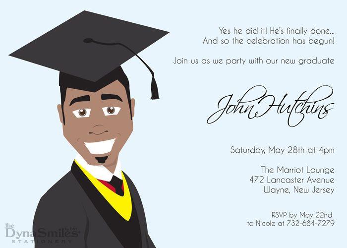 Mr Graduate Graduation Party Invitation African American