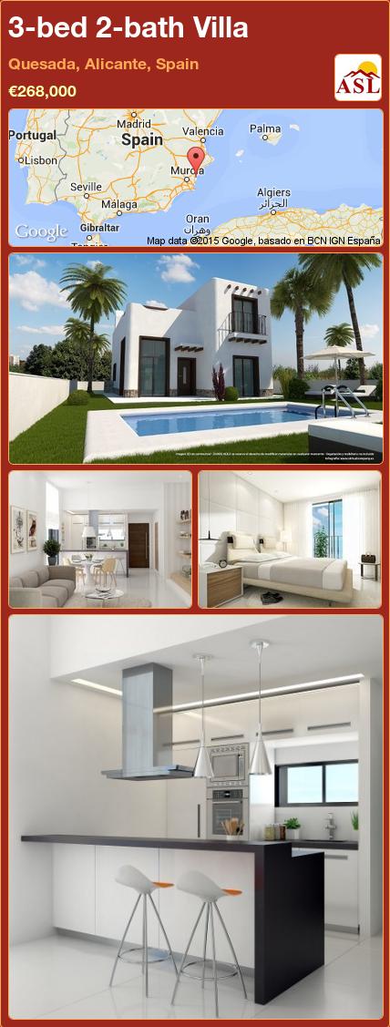 3-bed 2-bath Villa in Quesada, Alicante, Spain ►€268,000 #PropertyForSaleInSpain