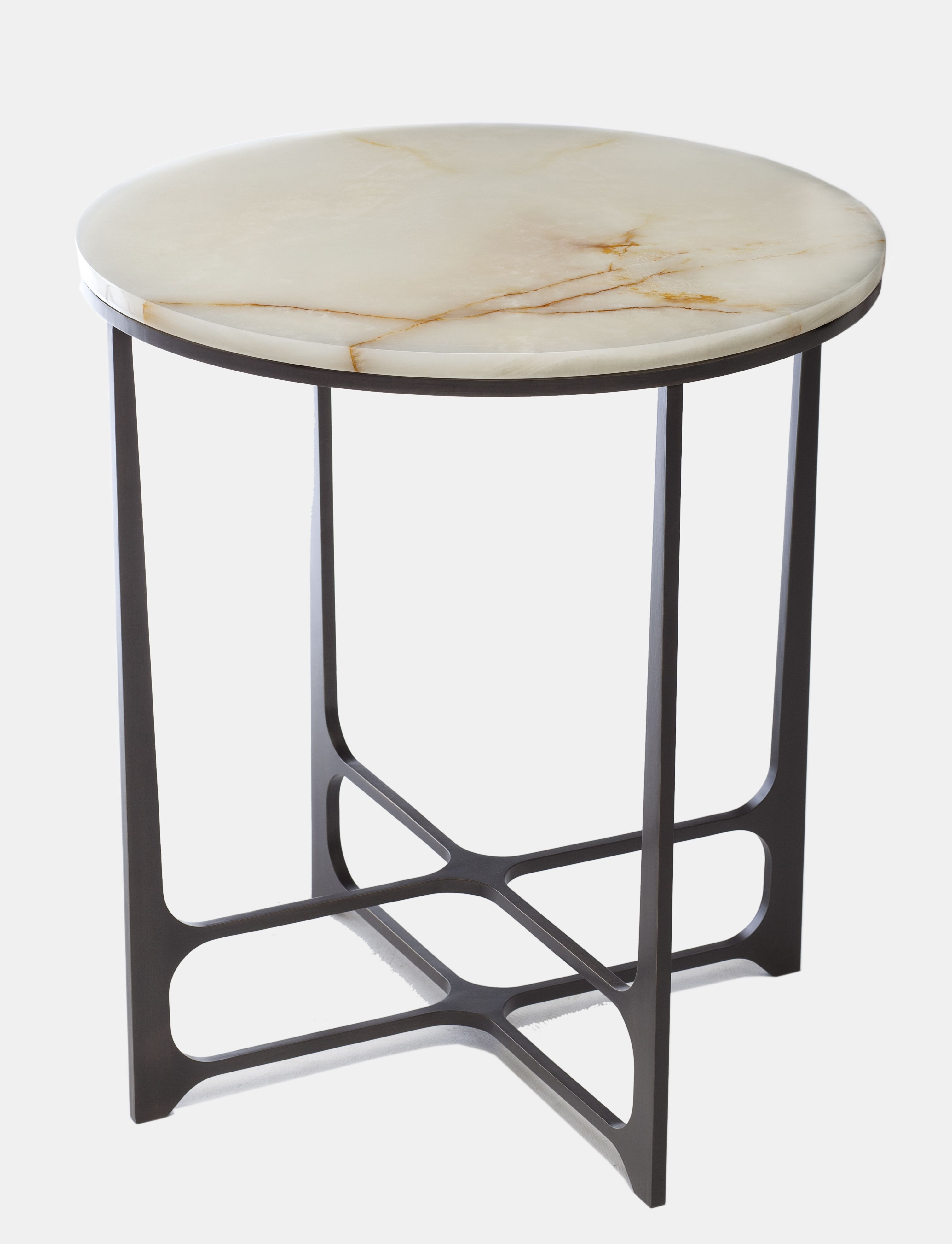 Leonid Low Side Table Bronze Copper Or Brass Marble Or Onyx Top