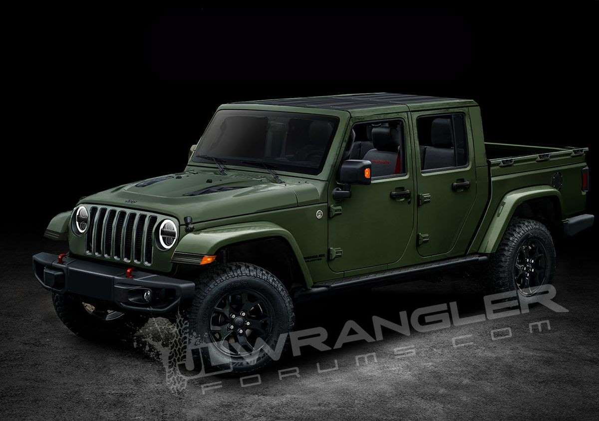 A Green Truck Parked In Front Of A Car 2019 Jeep Wrangler Pickup