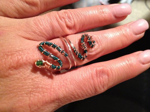 Green Snake Ring by PeaceLoveandBaubles on Etsy, $22.00