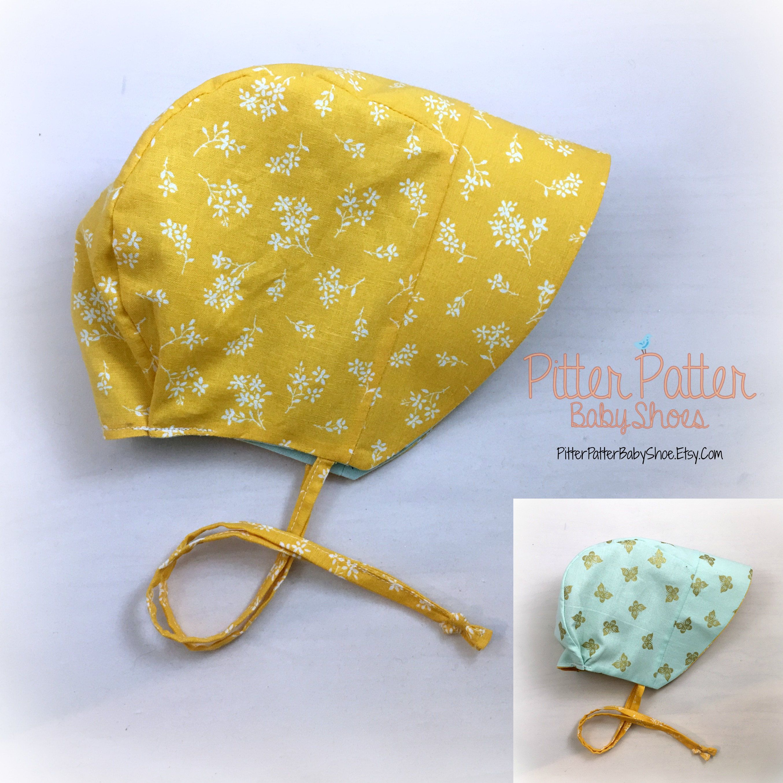 Yellow Summer Baby Bonnet - Mint and Gold Butterflies - Baby Sun Hat -  Reversible Bonnet - Mustard Yellow Sun Bonnet- toddler sun bonnet by ... 12b79ff1b84