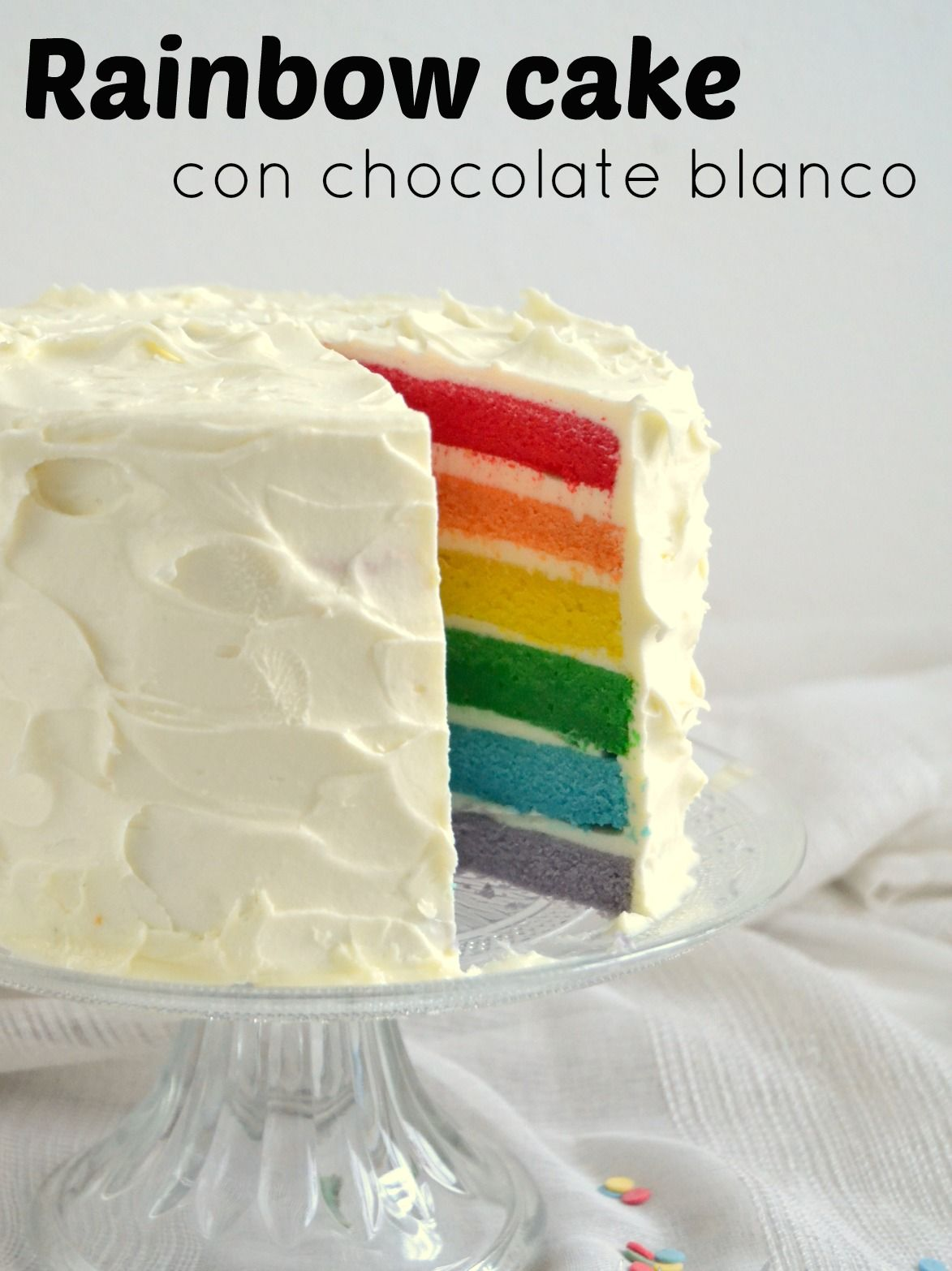 rainbow cake de chocolate blanco torta