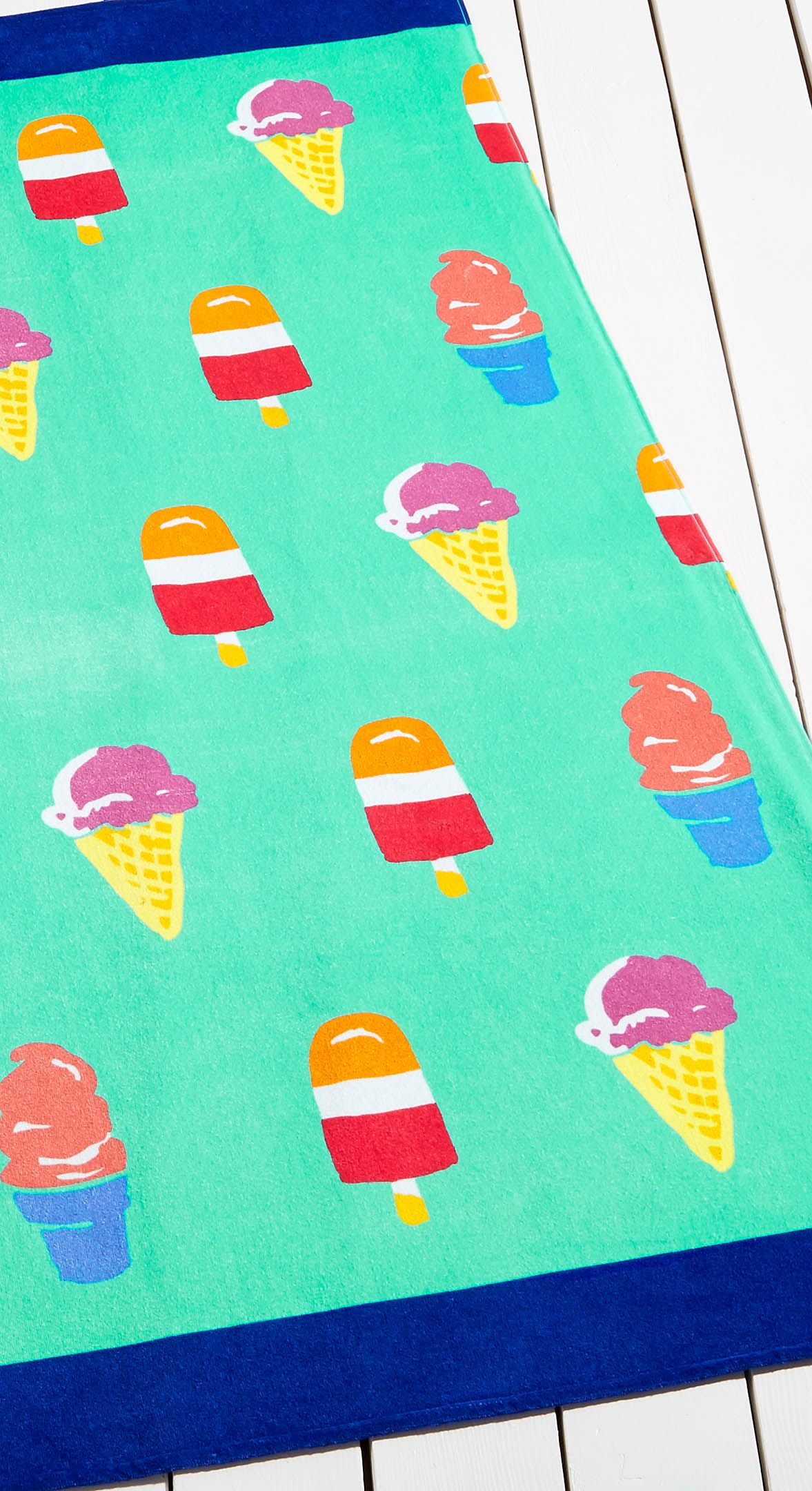 when your beach towel is also a convenient reminder that ice cream
