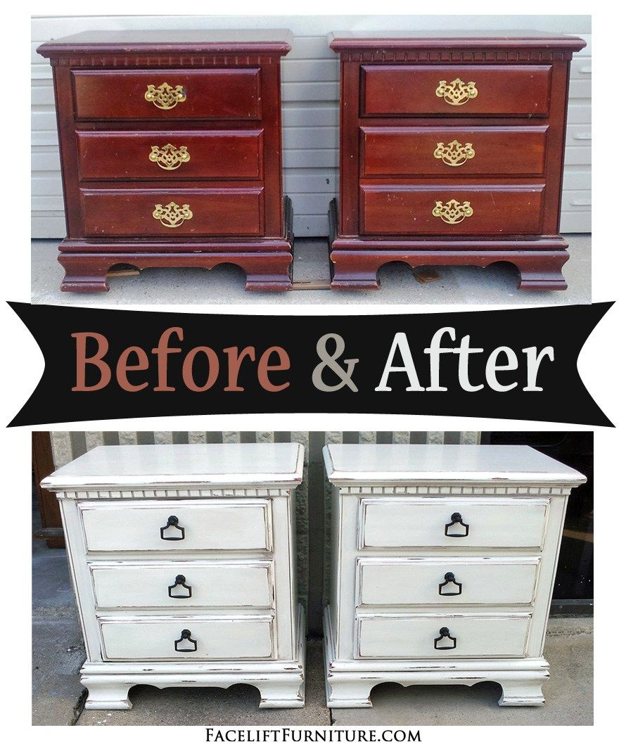 Distressed Antiqued White Nightstand with Tea Stained Glaze - Before & After - Distressed Antiqued White Nightstands – Before & After Home
