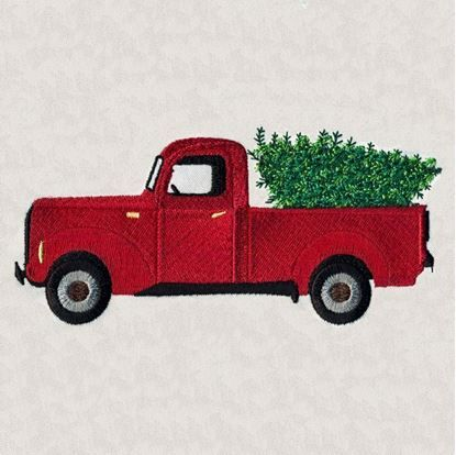 Beautiful Christmas Truck with Tree Machine Embroidery Designs By