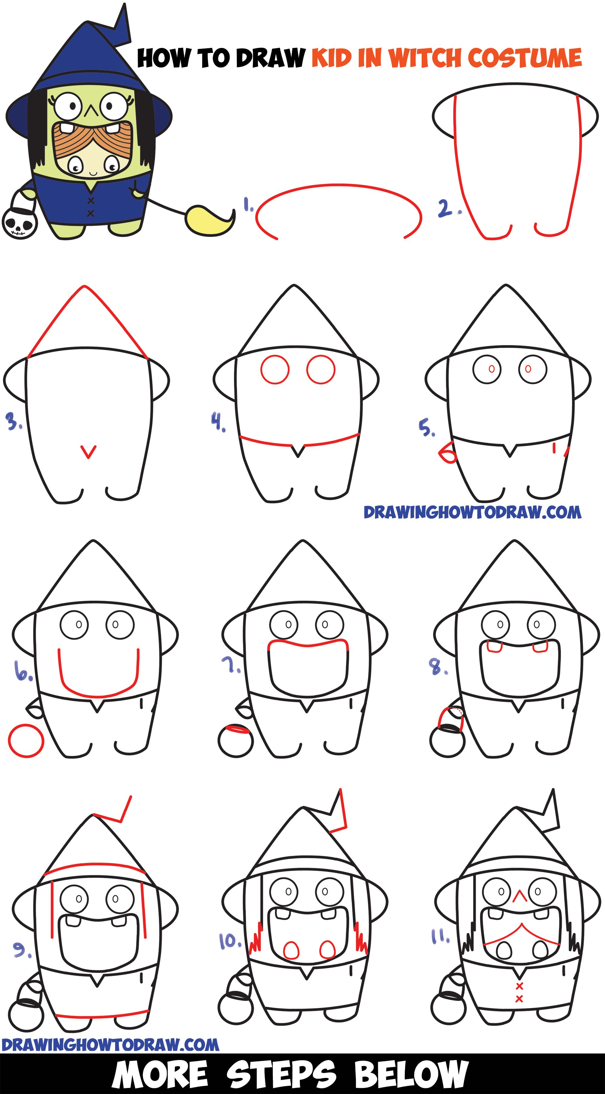 How To Draw A Kid In A Halloween Witch Costume Cute Kawaii Easy