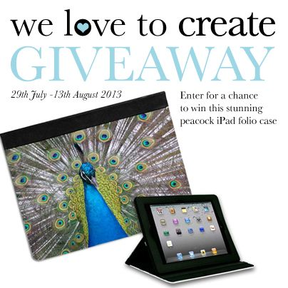 Enter to win one of our iPad folio cases featuring this stunning peacock design.   Its easy to enter, please visit our facebook page (/welovetocreate)  Worldwide competition ends 13th August 2013 12.00am with one lucky winner!   #competition #giveaway #ipadcase #win