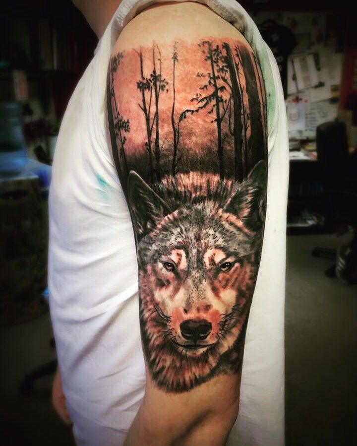 Wolf Tattoo Ink Trees Woods Sleeve Wolf Tattoo Design Wolf Tattoos Tattoo Sleeve Designs