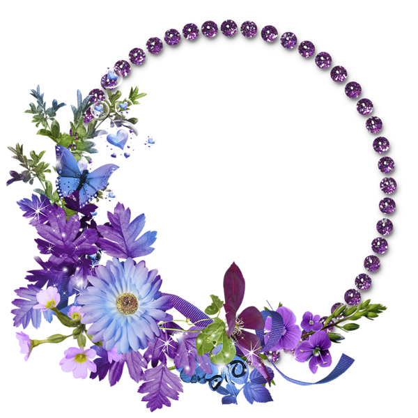 Beautiful Purple Round Flowers Transparent Frame Flower
