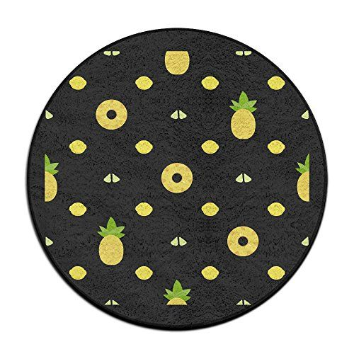 Pinnele Yellow Circle Bathroom Rug Mat Round Shower Carpet Bath