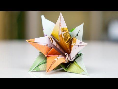 Geldgeschenk Hochzeit: Blumen falten - YouTube | basteln | Pinterest ...