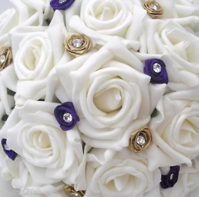 Gold Purple And Ivory Wedding Flowers Posy Bouquet In