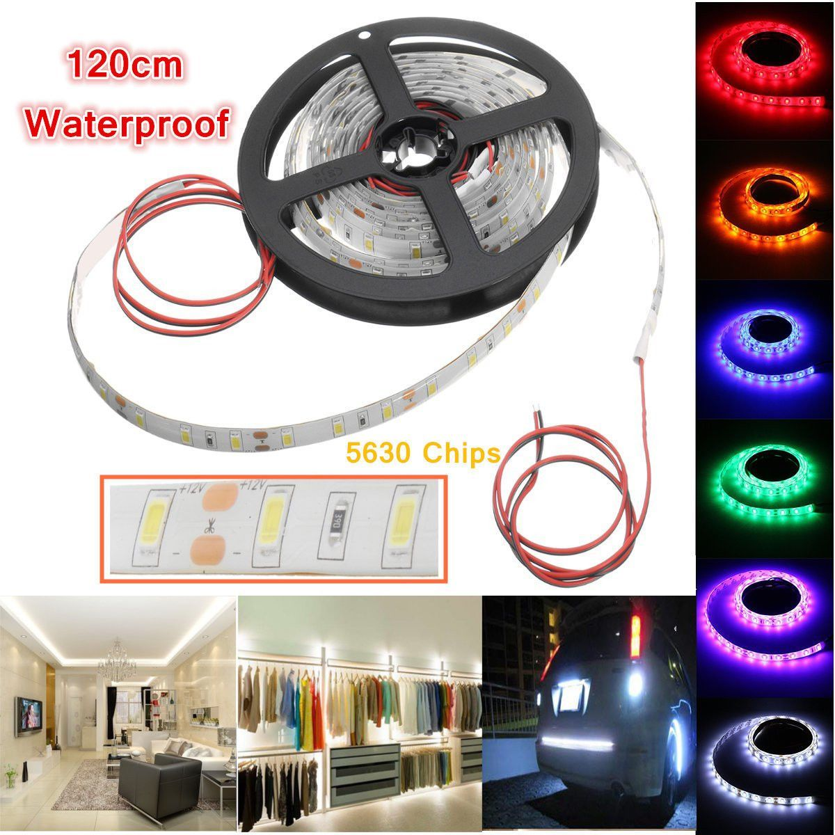 4x 1 2m Waterproof 5630 Led Strip Light Bars Camping Caravan Boat Car Motors 12v Bande De Lumiere Led Deco Moto