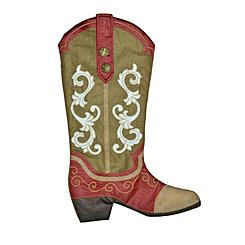 "Trim A Home® 19"" Cowboy Boot Christmas Green Stocking"