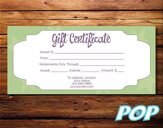 Personalized Digital File Gift Certificate 8.27 x by Pop5Design ...