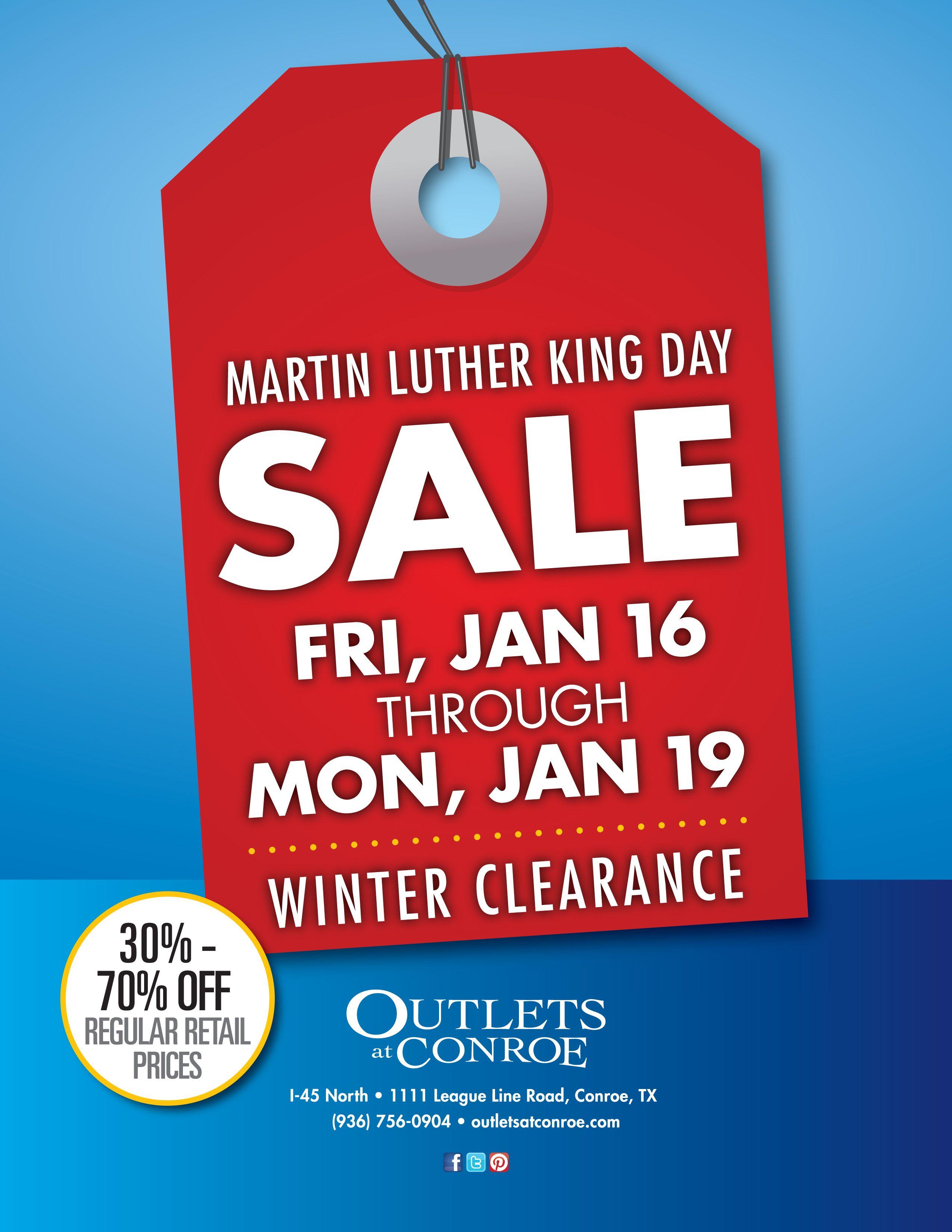 Martin Luther King Jr. Day Weekend Sale. Jan. 16 - Jan. 19 ...