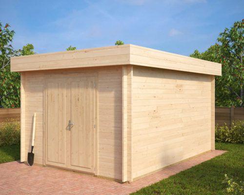 HolzGerätehaus mit Flachdach Jacob A 12m² / 40mm / 3x4
