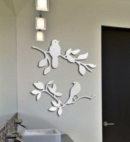 Adesivi Da Specchio.Fiori E Uccelli Parete Wall Decal Sticker Adesivo Da