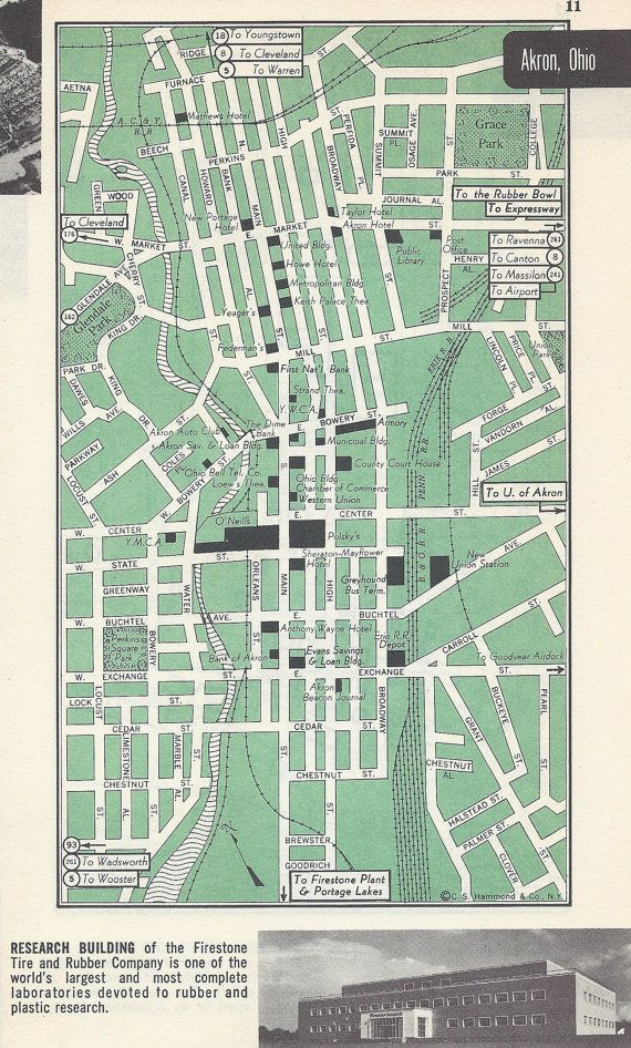 Akron Ohio Map Vintage Map City Map Street Map 1950s 2 Sided