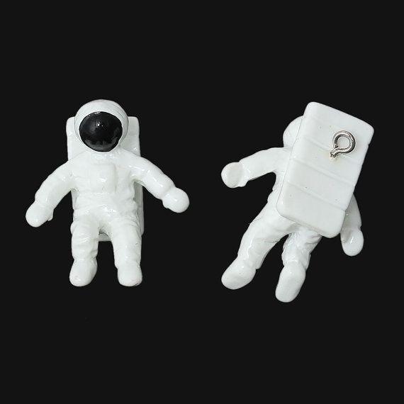 Astronaut Charm Spaceman Resin 3D Pendant  by BohemianFindings