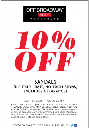 Broadway shoes, Printable coupons