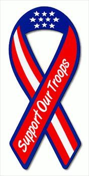 """/""""God Bless the USA/"""" car auto refrigerator Ribbon MAGNET Support Our Troops fridg"""