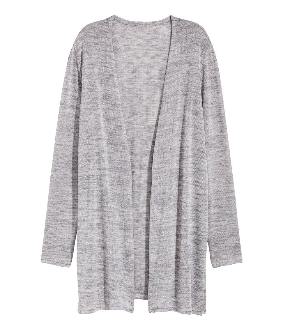 Check this out! Cardigan in a soft, fine knit with slits at sides ...