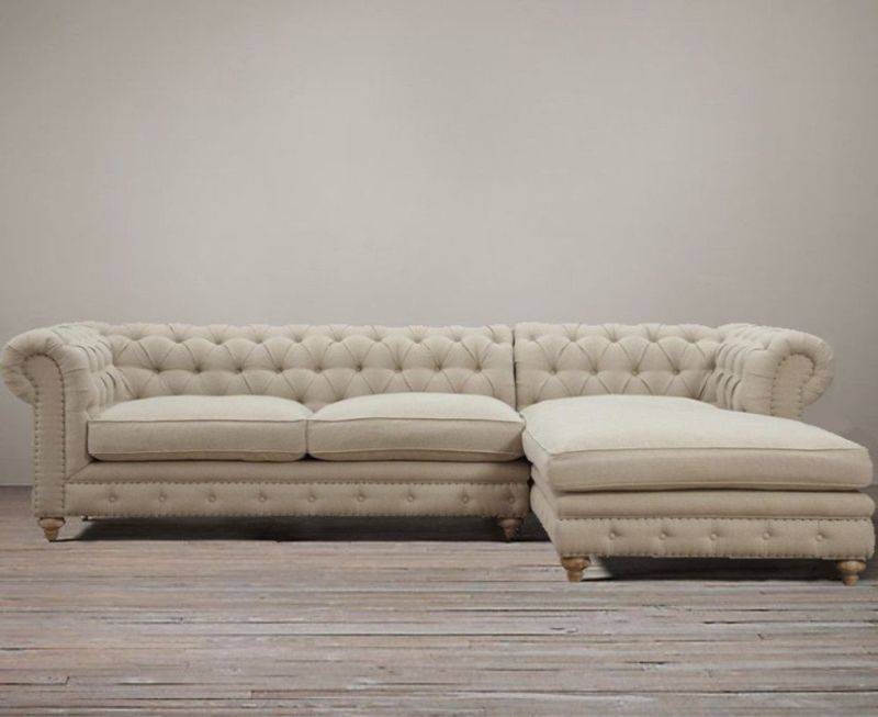 Chesterfield Deconstructed Down Linen Tufted Sectional Sofa Chaise