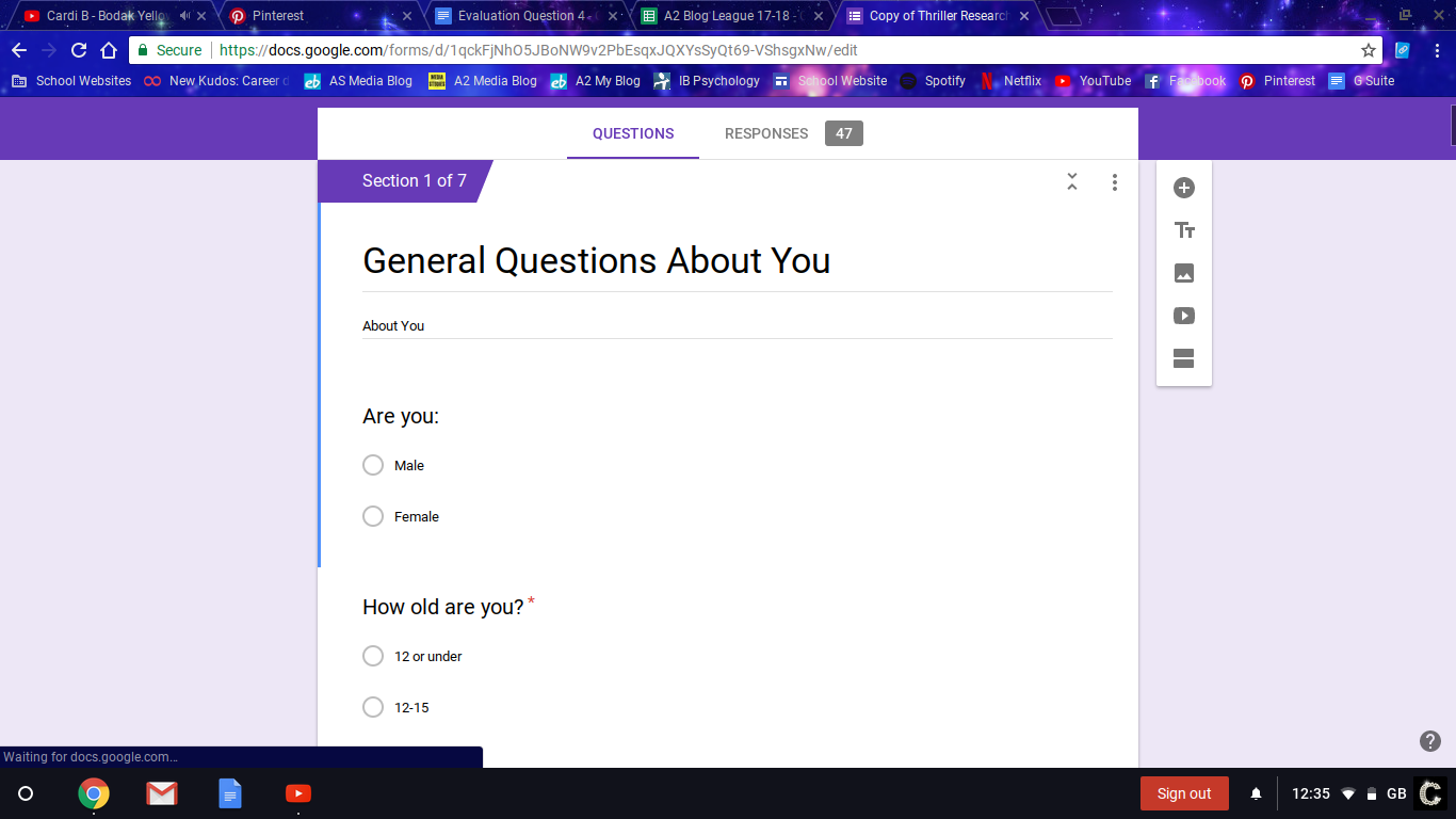 Google Forms Research This Site Allowed Us As A Group To Send