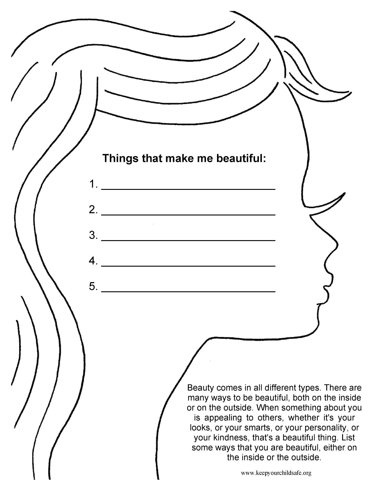 Things that make me beautiful Self esteem worksheets