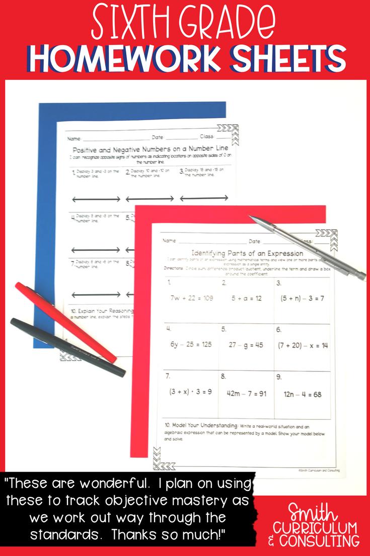 Sixth Grade Math Practice or Homework Sheets Bundle | Math, Homework ...
