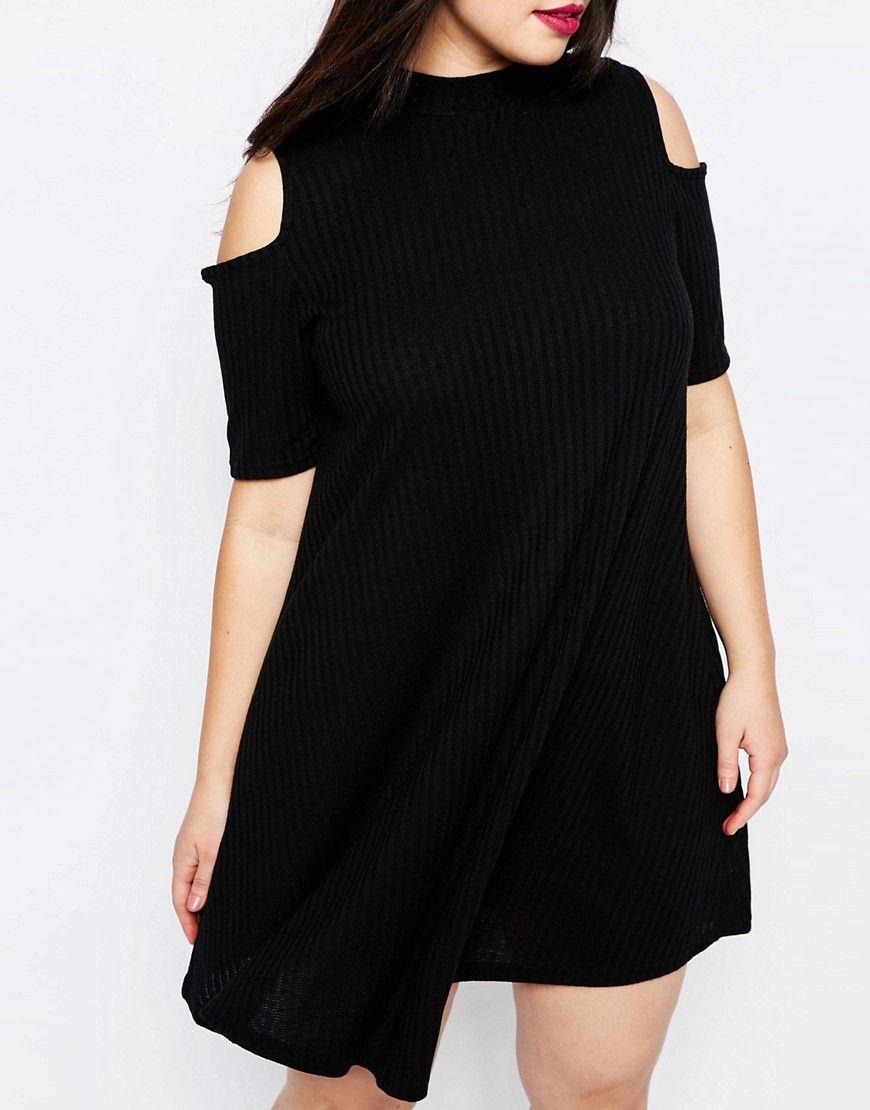 Image 3 ofNew Look Plus Cold Shoulder Ribbed Swing Dress