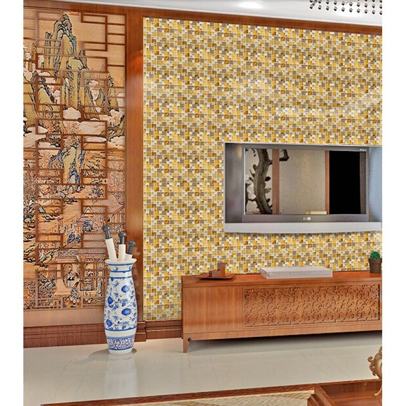 Decorative Tiles For Wall Gold 304 Stainless Steel Tile Metal Tiles Yellow Crystal Glass