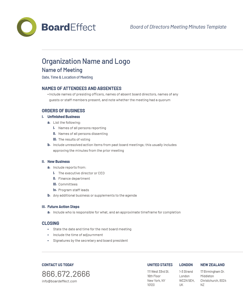 Board Meeting Minutes Template and Best Practices