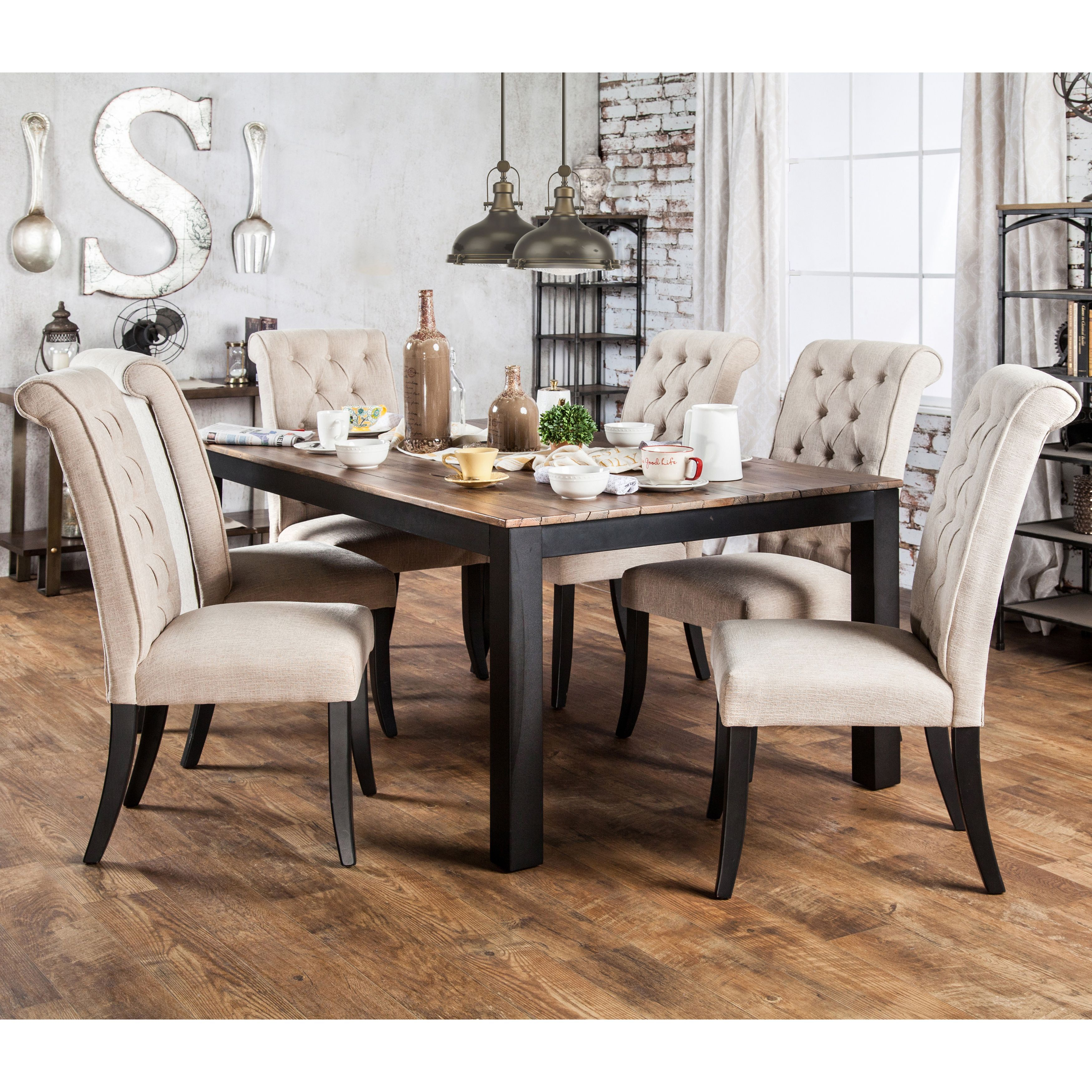 Gracewood Hollow Tabios Rustic Two Tone Dining Table